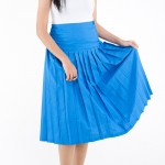 Sky Pleated Long Skirt 1